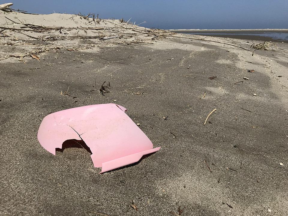 海岸に落ちている赤いポリエチレン