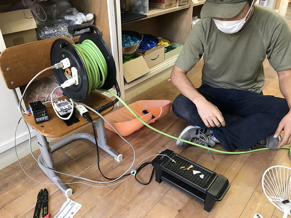 温度制御機構を入れた調理用鉄板でテスト